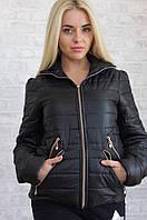 Черная курточка со змейками, на синтепоне Арт-8952/76