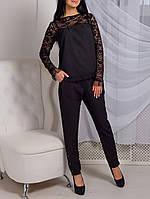 """Красивая женская блузка """"Ночная Интрига"""" с гипюровыми рукавами"""