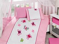 Постельное белье Cotton Box для новорожденных с вышивкой KelebekPembe CB25