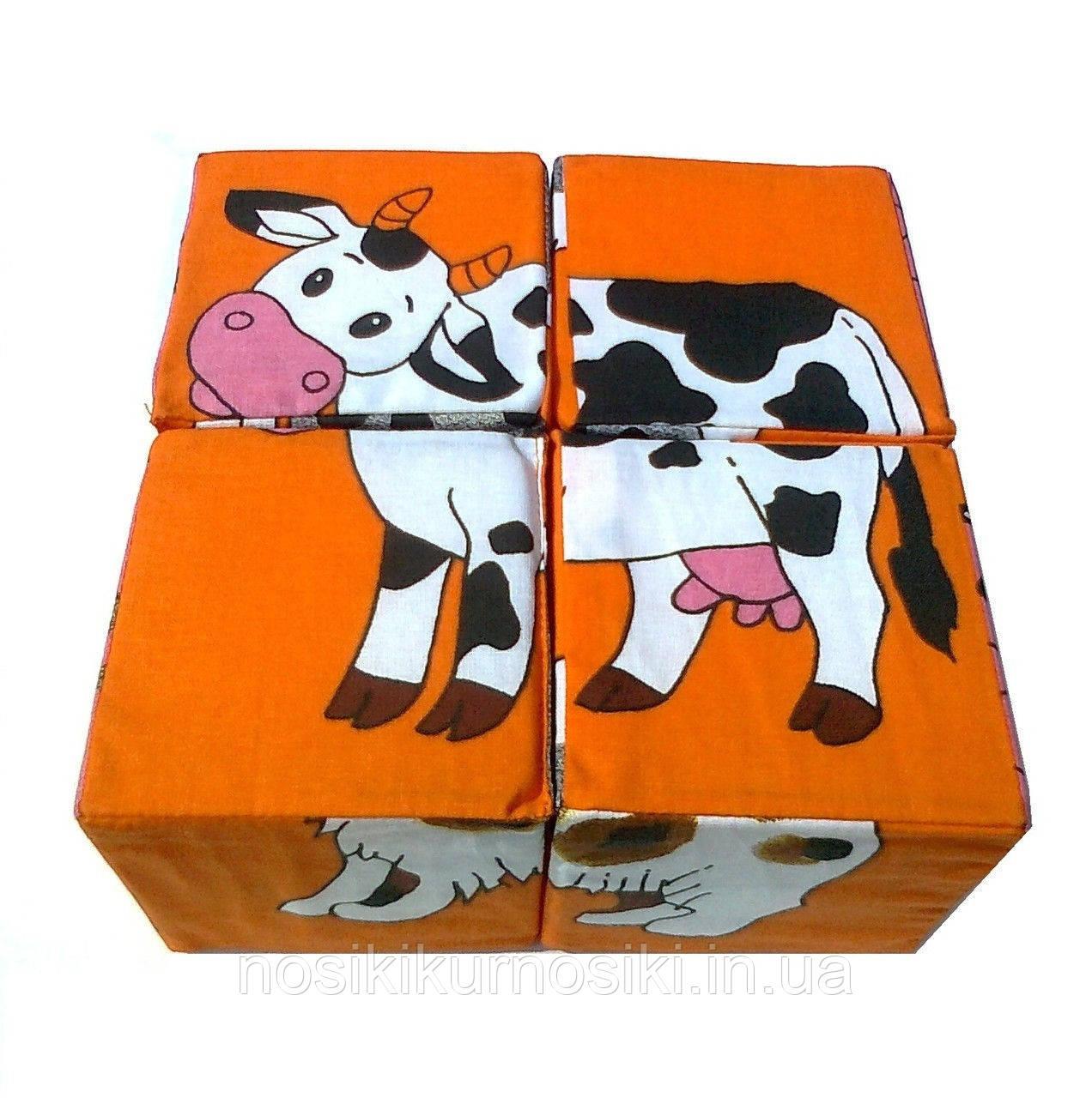 Развивающие мягкие кубики Умная игрушка Домашние животные
