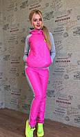 Теплый спортивный костюм с малиновой стеганной плащевкой. Арт-8953/76