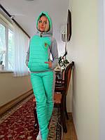 Теплый спортивный костюм с мятной стеганной плащевкой. Арт-8953/76