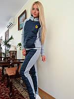 Теплый спортивный костюм с синей стеганной плащевкой. Арт-8953/76