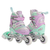 Роликовые коньки детские ZELART ENJOYMENT (алюм. рама, фиолет-зел)