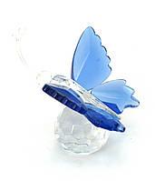 Бабочка на шаре хрусталь синяя (4,5х5х4 см)
