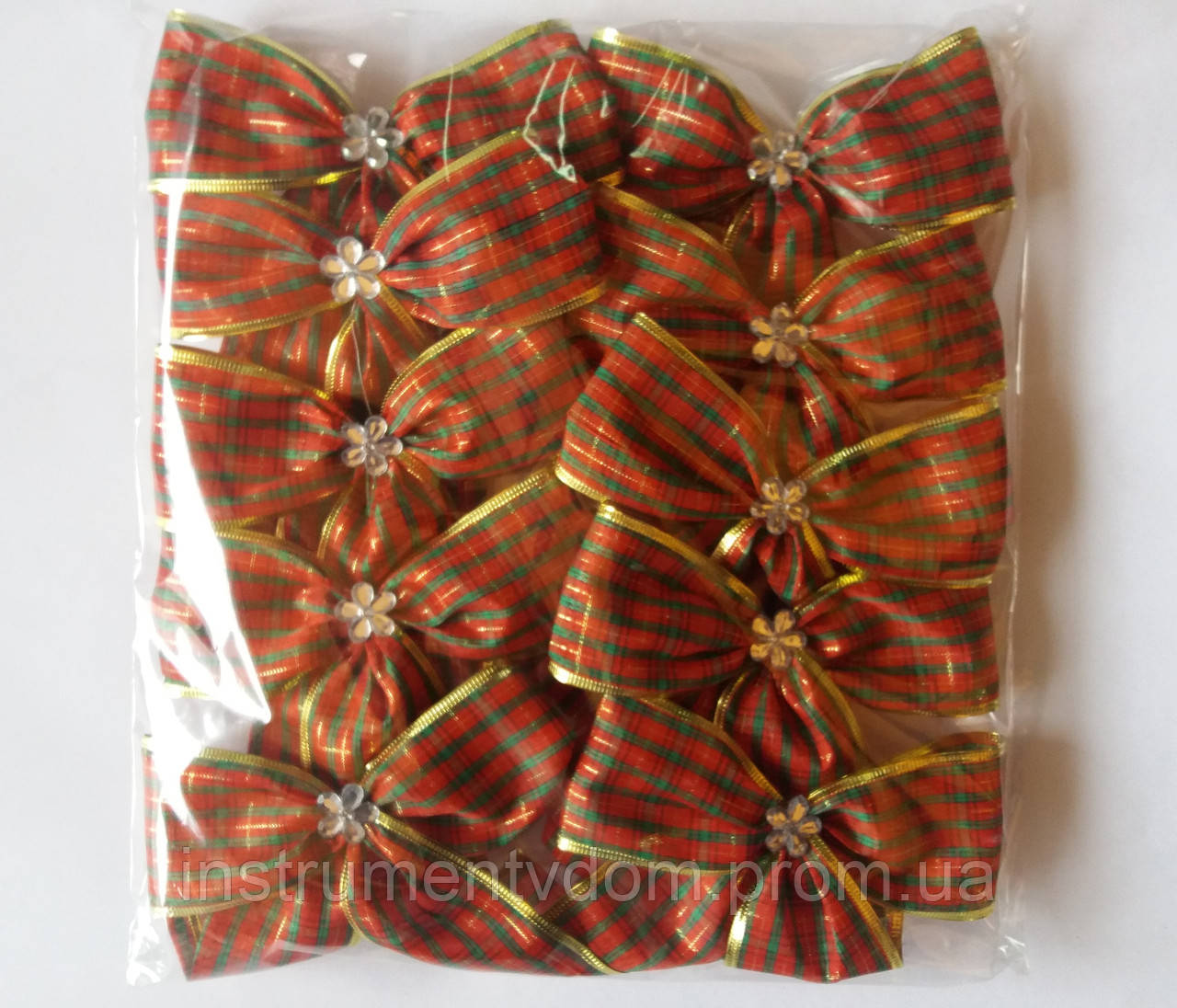 Банты в клетку широкие для новогодней елки (упаковка 10 шт, цвета в ассортименте)