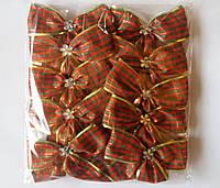 Банты в клетку широкие для новогодней елки (упаковка 10 шт, цвета в ассортименте), фото 1