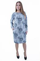 Теплое платье с цветочным принтом 553, фото 1