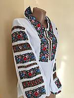 Жіноча вишиванка святкова з комірцем на домотканому полотні