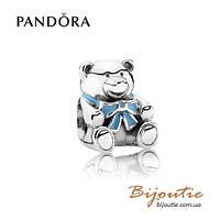 Pandora шарм МИШКА TEDDY BABY BOY #791124EN41 серебро 925 Пандора оригинал