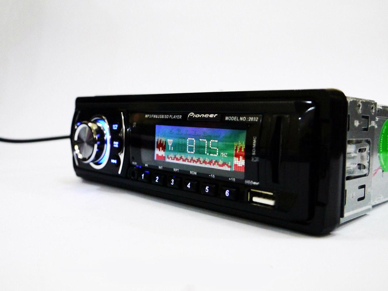 Магнитола Pioneer 2032 Автомагнитола универсальная красная подсветка FM тюнер
