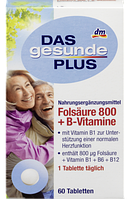DAS gesunde PLUS Folsäure 800 + B-VitamineTabletten - Фолиевая кислота 800 + В-Витамины, таблетки,  60 шт.
