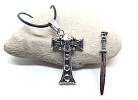 Кулон Крест с выдвижным мечом и черепами