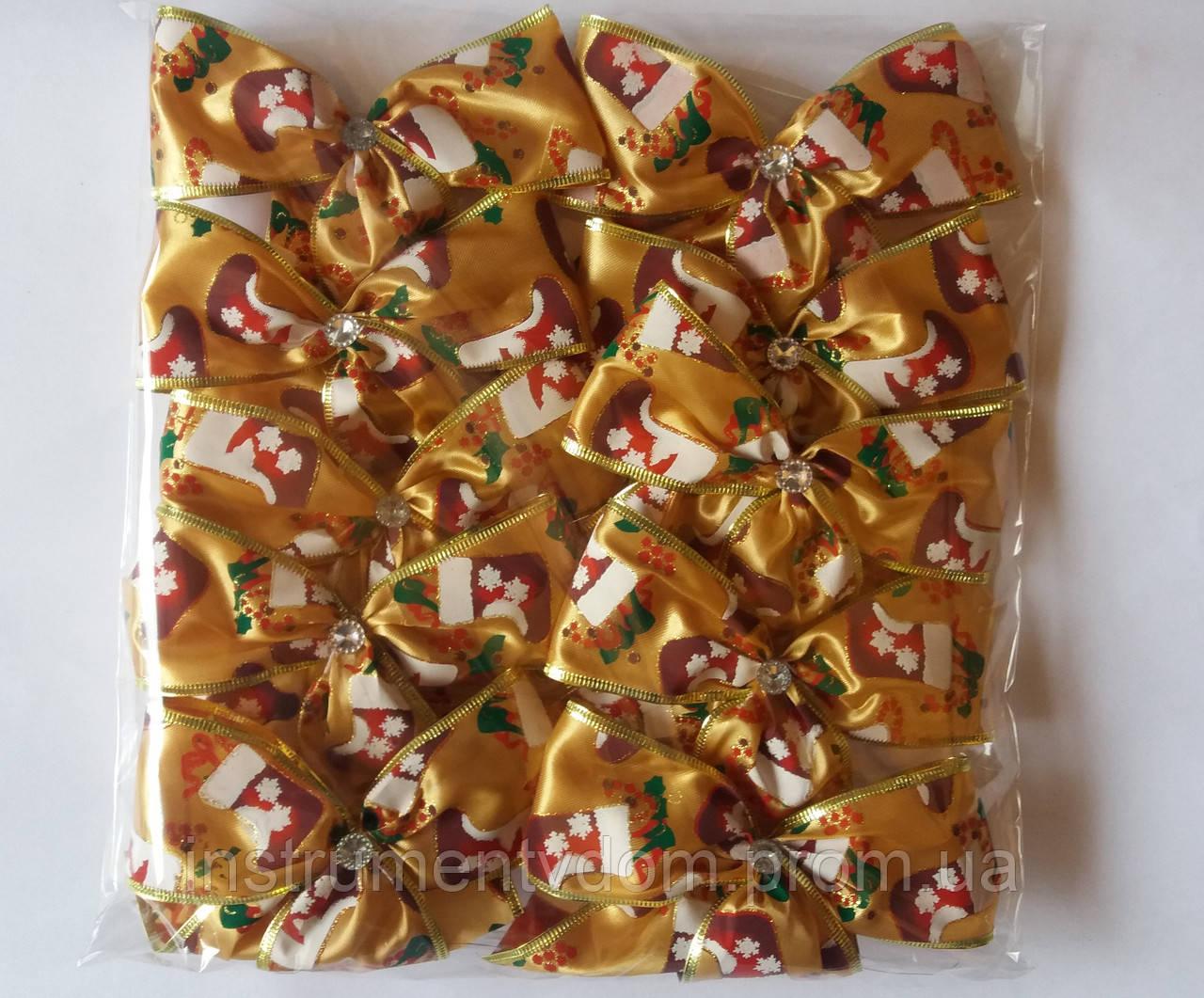 Банты с рисунком широкие для новогодней елки (упаковка 10 шт, цвета в ассортименте)