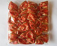 Банты блестящие с узором широкие для новогодней елки (упаковка 10 шт, цвета в ассортименте)