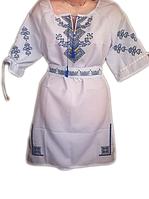 Жіноче вишите плаття з синьо-жовтим орнаментом (Женское вышитое платье с сине-желтым орнаментом) PV-0002