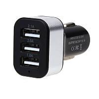 Автомобильная USB зарядка от прикуривателя 3 входа