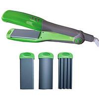 Утюжок для гофрирования волос Maestro MR 249, керамика, 3 насадки, индикация работы, мощность 30 Вт