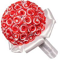 Свадебный букет дублер из атласных лент белого и красного цвета
