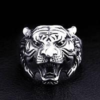 "Кольцо мужское ""Голова тигра"", сталь 316L"