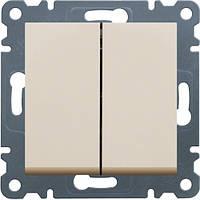 Выключатель 2-клавишный Lumina-2, кремовый, 10АХ/230В