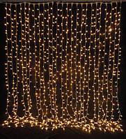 Гирлянда светодиодная наружная Curtain 1520LED 2x7м  желтый/черный IP44 Delux