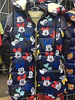 Детская зимняя куртка  Микки на овчине оптом на 5-9 лет синяя, фото 1