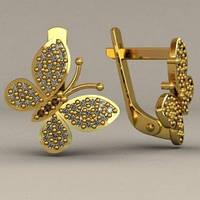 """""""Бабочки"""" - женские золотые серьги 585* пробы с камнями"""