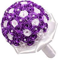 Свадебный букет дублер из атласных лент белого и фиолетового цветов