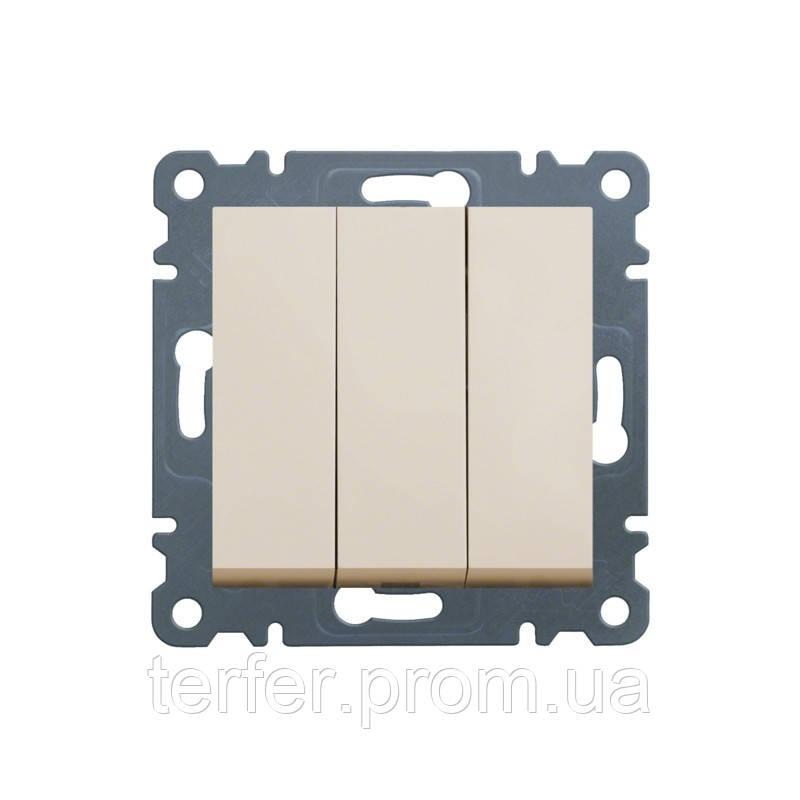 Выключатель 3-клавишный Lumina-2, кремовый, 10АХ / 230В