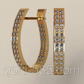 Стильные женские золотые серьги 585  пробы с камнями, цена 7 025 грн ... fc7f06cead0