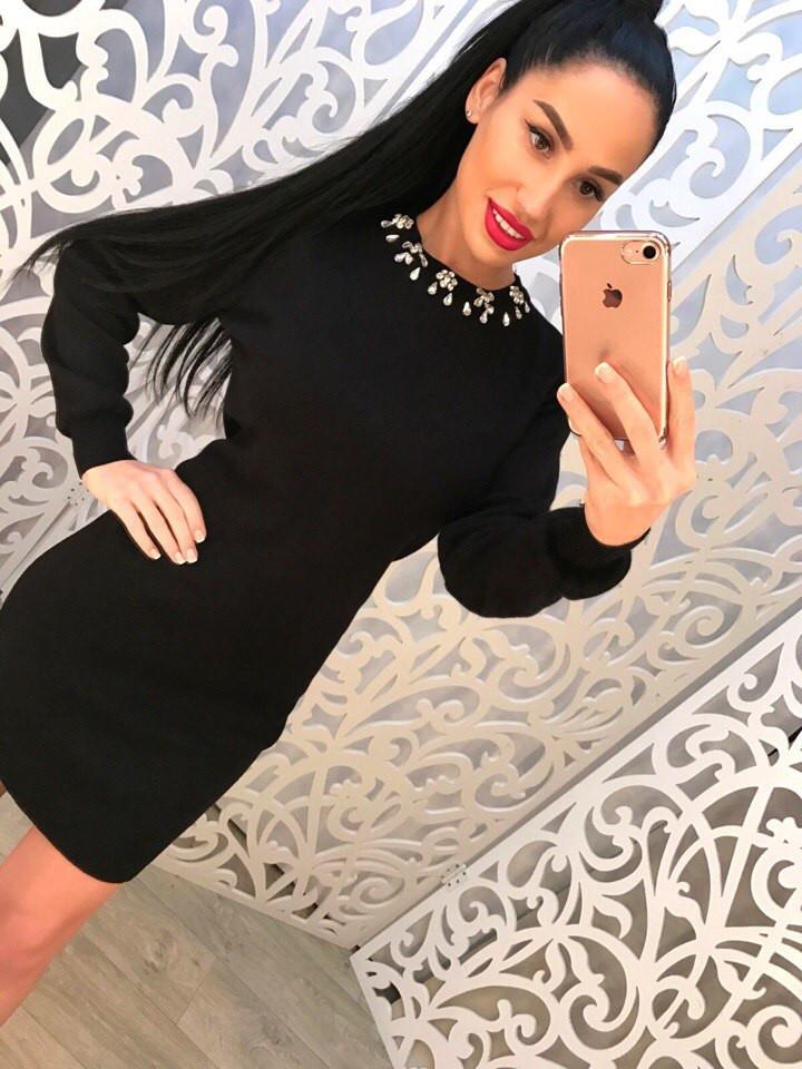 Черное платье с камнями (арт. 411887335)  продажа 11348e4f3f883