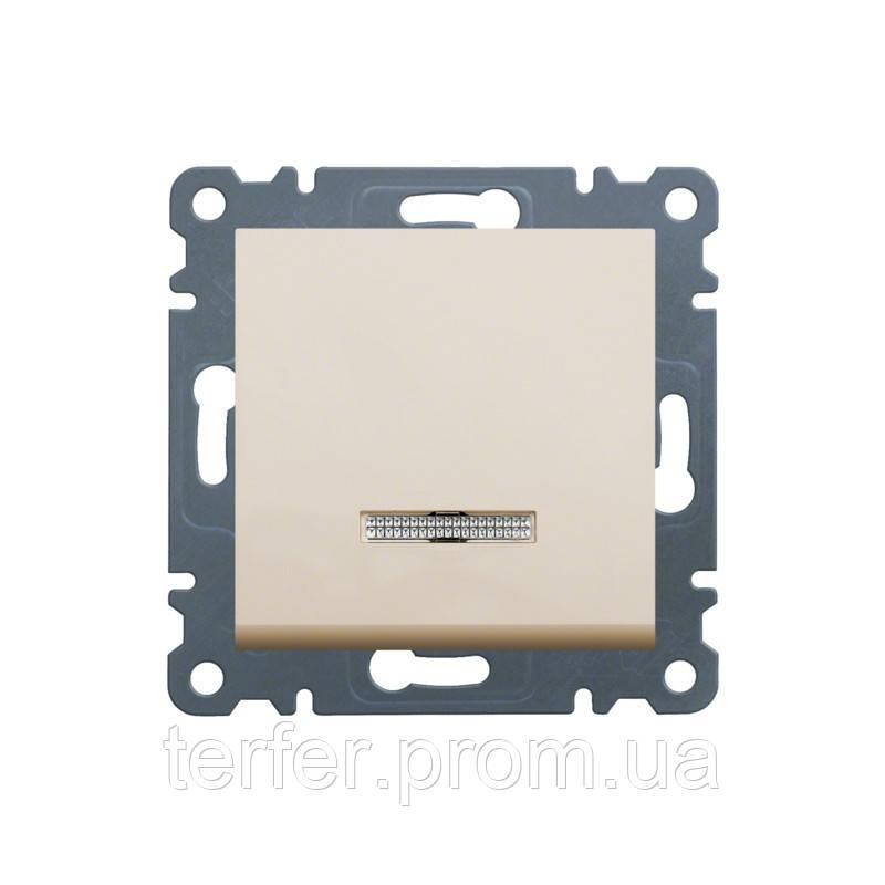 Выключатель с подсветкой 1-полюсный Lumina-2, кремовый, 10АХ / 230В