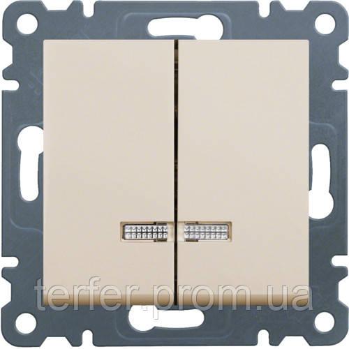 Выключатель с подсветкой 2-клавишный Lumina-2, кремовый, 10АХ / 230В