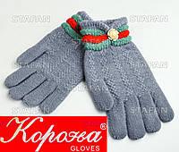 Шерстяные перчатки с начёсом на девочку Korona E5375-1-R