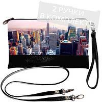 Черная женская сумка клатч с принтом Большой город