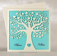 """Пригласительные """"Влюблённое дерево с листками сердечками"""" Tiffany"""