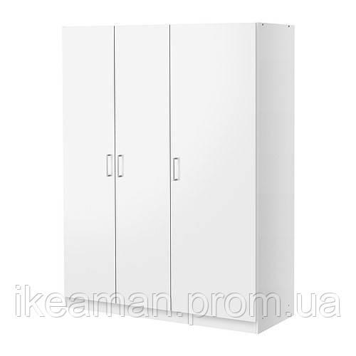 DOMBÅS Шкаф платяной 3-дверный, белый, фото 1