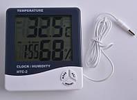Цифровой термометр часы гигрометр с  выносным датчиком HTC-2