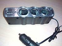Разветвитель прикуривателя на 3 гнезда, зарядное устройство 3 в 1 с 1 USB