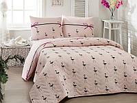 Покрывало стеганное с наволочками Eponj Home - Flamingo pudra 200*220