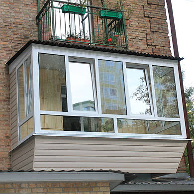 Вынос балкона по полу и по подоконнику