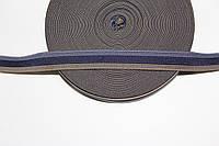 Резинка декоративная 20мм (25м) серый+т.синий+т.бежевый , фото 1