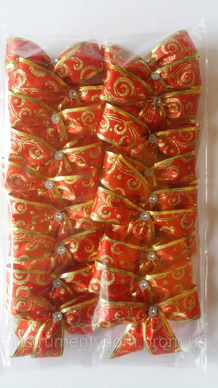 Банты блестящие с узором узкие для новогодней елки (упаковка 20 шт, цвета в ассортименте)