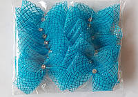 Банты блестящие прозрачные узкие для новогодней елки (упаковка 20 шт, цвета в ассортименте)