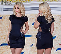 Платье Черное Короткое Красивая Баска Платьице оригинальное с украшением