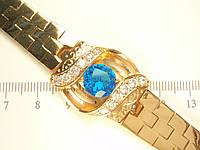 """Браслет XP Позолота 18К """"Штампованное Плетение Декор Голубой Кристалл в Оправе с Цирконием"""" размер 17,5 см"""