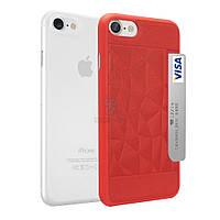Комплект из пластиковой и кожаной накладки, Ozaki O!coat Jelly+Pocket (2 in 1) для iPhone 7 - прозрачная белая и красная (OC722RC)