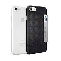 Комплект из пластиковой и кожаной накладки, Ozaki O!coat Jelly+Pocket (2 in 1) для iPhone 7 - прозрачная белая и черная (OC722KC)