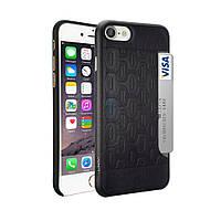 Стильная накладка из натуральной кожи с вырезом под пластиковую карту, Ozaki O!coat 0.3+Pocket Case with Card Holder для iPhone 7 - черная (OC737BK)